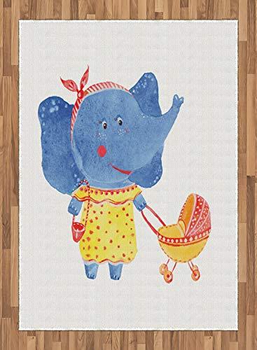ABAKUHAUS Aquarell Elephant Teppich, Mutter und Kind, Deko-Teppich Digitaldruck, Färben mit langfristigen Halt, 80 x 150 cm, Azure Blau Gelb Rot -