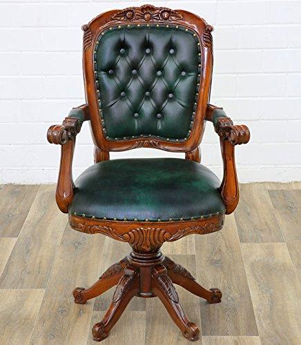 MOREKO Antik-Stil Bürostuhl Mahagoni Drehstuhl Massiv-Holz Schreibtisch-Stuhl grün