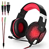 KOTION EACH G1000 3.5mm PC Headset Stereo Gaming con in-line Mic Over-ear con l'isolamento del rumore LED Light per PC Laptop(nero + rosso)