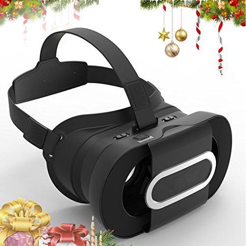 VR Headset, JoyGeek Portable Virtual Reality Brille Gefaltete 3D VR Brille Google Cardboard V2.0 mit Stirnband für 4-6 Zoll iPhone 7/7 Plus/6/6 Plus/5/5s/5c/4 und Android Samsung Nexus Huawei HTC MOTO Sony LG Smartphones(Black)