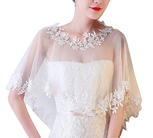 Cheerlife Elegant Damen Spitze Cape Boleros Top Spitzejacke für Brautkleid Abendkleid Cocktaikleid...