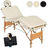 TecTake Table de massage 4 zones pliante cosmetique lit de massage portable + housse de transport - diverses couleurs au choix - (Noir | no. 401769)