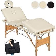 TecTake Camilla de masaje 4 zonas mesa de masaje banco plegable + bolsa de transporte - disponible en diferentes colores - (Beige | no. 401768)