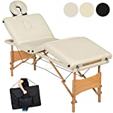 TecTake 4 zones portable massage table folding therapy beauty + bag - different colours - (Beige | no. 401768)