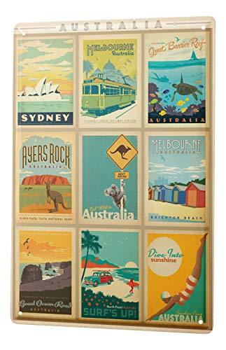 LEotiE SINCE 2004 Blechschild Wandschild 30x40 cm Vintage Retro Metallschild Weltenbummler Australien Sehenswürdigkeiten Kollektion