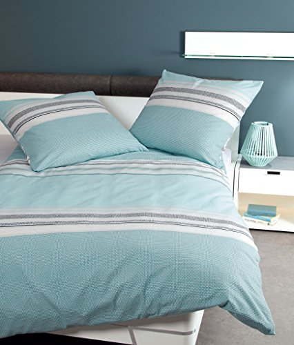 Preisvergleich Produktbild Janine Bettwäsche Davos 6490-02 pastellblau Feinbiber - mit Fehlern, Größe:135x200 cm + 80x80 cm