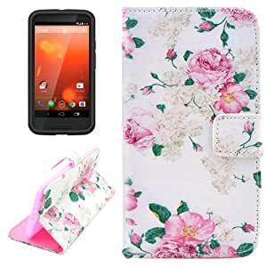 Chinese Rose Pattern Leather Case with Holder & Card Slots & Wallet for Moto X (2nd Gen.)