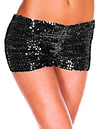 Tomatoa Frauen Elegant Hohe Taille Kurze Hosen mit Pailletten Hot Pants  Lässige Strand Shorts Yoga Shorts Hose Yoga Shorts Hot Pants… e01edd4f3b