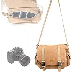 DURAGADGET Sacoche en Toile Vintage pour Appareil Photo Canon 7D Mark II et EOS 1200D, 700D, SX400 is, 100D, 750D et 6D avec Compartiments Ajustables - Couleur Beige
