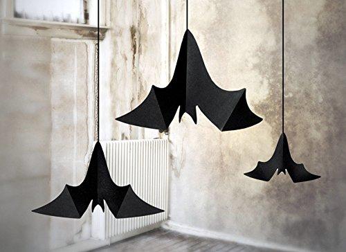 Hänger 'Fledermaus' schwarz, 47x23, 37x19, 31x14 cm, 3 Stück - Halloween (Halloween Tolle Dekoration)