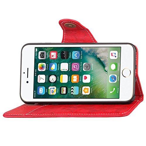 "Apple iPhone 7 Plus / 8 Plus 5.5"" Hülle, SATURCASE Retro Business Stil PU Lederhülle Ledertasche Magnetverschluss Schnalle Flip Cover Brieftasche Case Handy Tasche Schutzhülle Handyhülle Hülle mit Sta Rot"