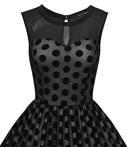 Damen Dress Vintage Polka-Punkt-Gaze Ärmellos Schwingen Kleid Cocktailkleider Schwarz