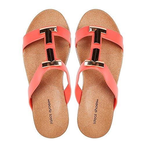 Ideal Shoes Sandales Plates avec Bride en Caoutchouc Mahena Rouge