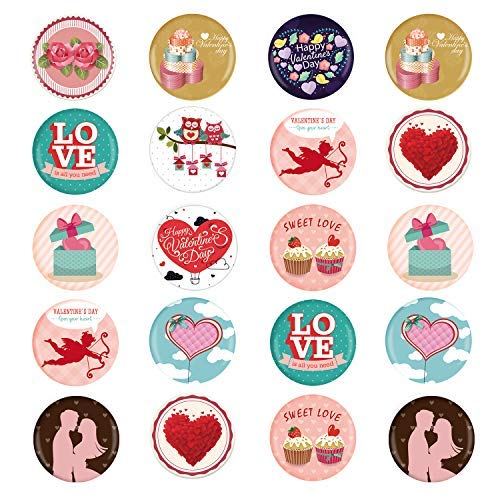 TUPARKA 24Pcs Valentines Pin Abzeichen, Happy Valentinstag Button Abzeichen Valentines Button Pin Kinder, Geburtstag Party Favors