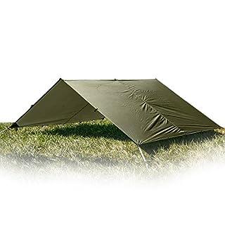 Aqua Quest Guide Tarp - 100% Waterproof Ultralight RipStop Sil-Nylon Backpacking Rain Fly - 4x3 Olive Drab