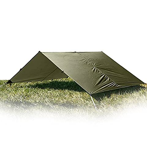 Aqua Quest Guide Tarp Large 4 x 3 m - Ultralight Waterproof Rip-Stop Sil Nylon Backpacking Rain Fly Shelter - 17 Tie Down Loops for Unlimited Set Up Options - Olive Drab