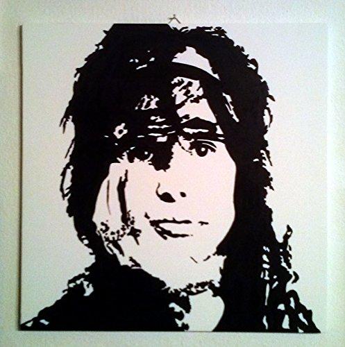 STEVEN TYLER AEROSMITH QUADRO MODERNO PANNELLO LEGNO MDF DIPINTO A MANO POP ART (formato 30 x 30 cm)