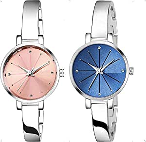 KDENTERPRISE Analogue Causal Pink & Blue Dial Silver Plated Bracelet Women's Girl's Wrist Watch Pack of 2