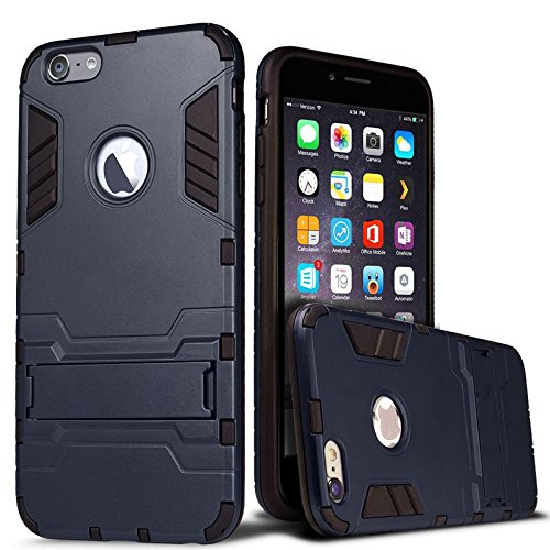 [iPhone 6 hülle] Lantier [High-Quality] [Perfect Fit] [Tire Design Haut] 2 in 1 Combo Rugged Dual Layer [Heavy Duty-Kasten] Abnehmbare Seitenständer [Protective Shell] [Hard Case] ??für iPhone 6 Abdec schwarz