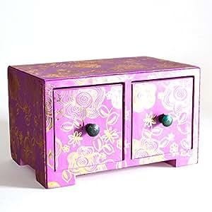 Fair Trade Boîte À Bijoux Stockage Étui Rangement à tiroirs pour bijoux en simili cuir-Rose
