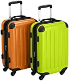 HAUPTSTADTKOFFER - Alex - 2 x Handgepäck Hartschale glänzend, 55 cm, 42 Liter, Apfelgrün-orange