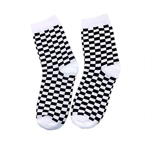 Wild Dog Socken für Damen, modisch, kariert, geometrisch, kariert, für Herren, Hip Hop, Baumwolle, unisex, 3 Paar -