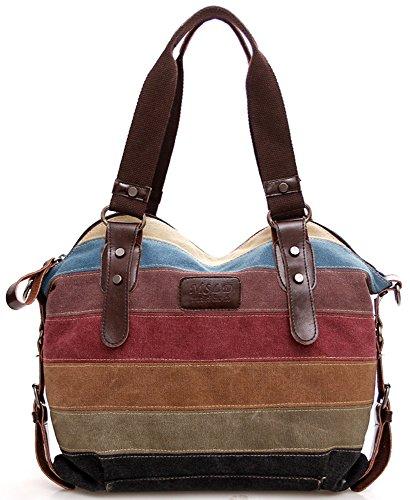 Preisvergleich Produktbild Bunte Streifen Umhängetasche / Leinwand Handtasche / Reisetasche für Frauen / Mädchen / Studenten mit Großer Kapazität