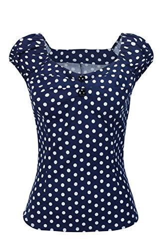 Las Mujer Vintage Algodón Polka Dot 50s Camisetas Tops Retro De...