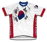 Drapeau Corée du Sud à manches courtes Maillot de cyclisme pour femme Large Blanc - blanc