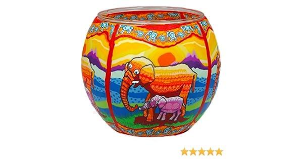 Elefants Him CC215 photophore Verre /él/éphant 11x11x9 cm Multicolore
