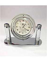 Reloj de escritorio acero///placa de plata bilamina Pierre Cardin