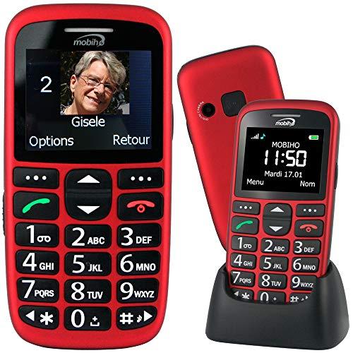 Mobiho-Essentiel le CLASSIC INITIAL ROUGE - Téléphone complet senior. Le seul appareil réunissant toutes les solutions : audition, vision, préhension, dextérité, fausses manip. DEBLOQUE TOUT OPERATEUR
