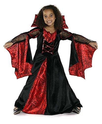 Kinder Spinnenfrau Kostüm - Trullala Spinnenkleid, Faschingskostüm Größe: M in rot/schwarz (4-6 Jahre)