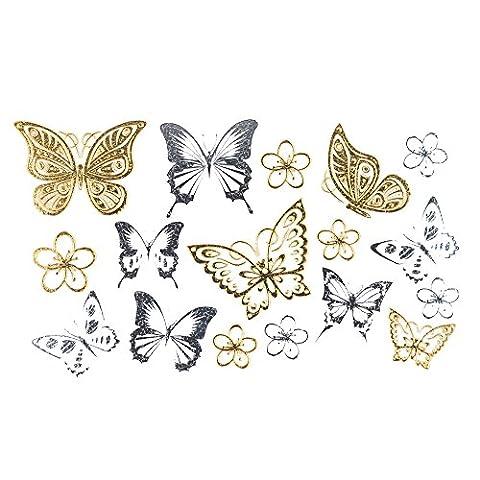 COKOHAPPY Métallique Temporaire Tatouage ( Ensemble 2 ) Minuscule Papillon Or Argent