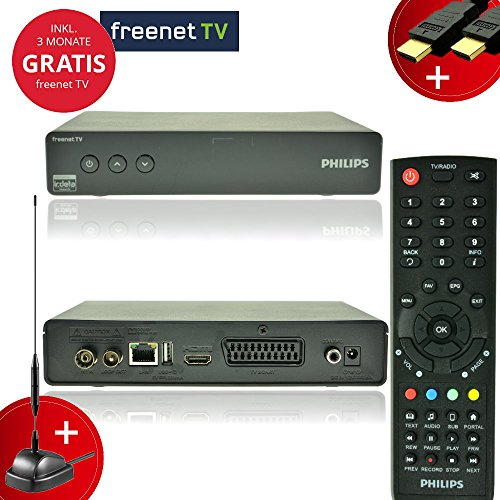 Philips Digital DVBT-2 Receiver Set + aktive Antenne + 3 Monate freenet TV Gratis + NA-Digital HDMI Kabel und Fernbedienung