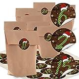Set 24 braune Adventskalender Papiertüten 14 x 22 x 5,6 cm + Aufkleber Zahlen Nummern 1-24 grün gepunktet mit roter Mütze für tolle Adventskalender zum selber basteln + befüllen Kinder Erwachsene