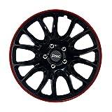 15 Zoll Radzierblenden HERO GTR (Schwarz - Aussenring Rot). Radkappen passend für fast alle OPEL wie z.B. Corsa D