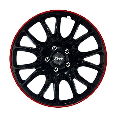 4X Radzierblenden 16 Zoll Hero GTR (Schwarz/Rot) passend für z.B. Ford für Fiesta MK5 JAS JBS