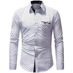 Camisa Casual/Formal para Hombre,ZARLLE Camisa De Vestir De Manga Larga con Cuello En V Formal De Lunares Formal De Manga Larga para Hombres