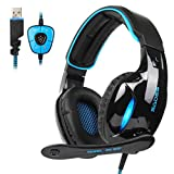 PC Gaming Headsets ,SADES SA902 USB Gaming Headphone 7.1 Virtual Sound Over-ear Headphone with Microphone In-line Volume Control LED Light (Blue)