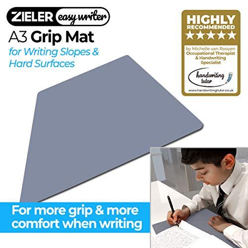 ZIELER Easywriter GRIP MAT per Zieler Pendenza di scrittura ergonomica. Impedisce al tuo libro di scivolare e offre più comfort quando si scrive su una superficie dura (1 mm, grigio)
