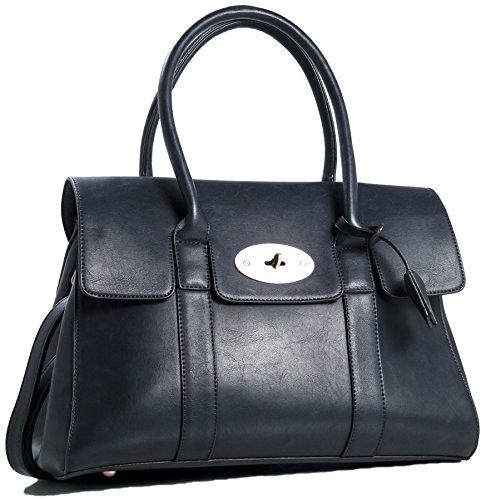 Big Handbag Shop da donna in ecopelle design Boutique Maniglia Superiore Borsa a tracolla Navy