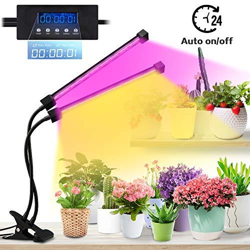 Lovebay Pflanzenlampe 20W 40 LEDs, Automatische Zeitschaltuhr Sonnenlicht Pflanzenlicht Lampe Vollspektrum, Dimmbar Schwanenhals Grow led, 5 Arten Helligkeit/3 Arten Farbmodus