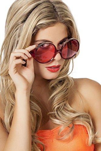 Panelize 70er 80er Brille große Runde Gläser Hippie Spassbrille Schlagerparty 4 Farben (rot)