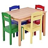 COSTWAY 5 tlg. Kindersitzgruppe Kindermöbel Kindertisch & Kinderstuhl Holz Sitzgruppe
