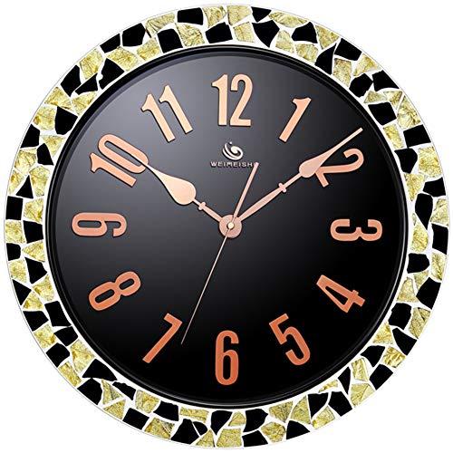 WJXBoos 18 Zoll Mosaik Wanduhr, 36 cm Glas zifferblatt, 46 cm mosaik Grenze Leise Genaue Quarz Uhr Metallrahmen Handmade Dekor-Gold 18 inch (45.5CM) - Glas-mosaik-grenze