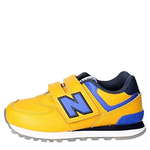 NEW BALANCE - Gelb-blauer Sportschuh, aus Leder und Stoff, mit Klettverschluss, seitlich und hinten ein Logo, sichtbare Nähte und Gummisohle, Jungen-32 (New Balance Herren Frühling)