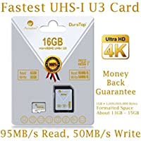 Amplim 16GB Micro SDHC U3 Card Plus SD Adapter Pack Extreme Pro Class 10 UHS-I MicroSDHC 95MB/s Read, 50MB/s Write. Ultra High Speed HD UHD 4K Video. Internal/External MicroSD Flash Memory Storage