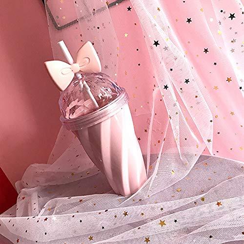 400ML Plastic Trinkflasche mit Stroh Kaltgetränk Schale Bogen Straw Cup Bottle Für Kinder Mädchen Damen (Rosa)