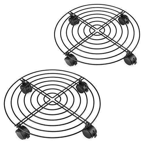 Magicfly Pflanzenroller 2 Stück, Stahl Metall Untersetzer Blumenroller Transportroller Rollbrett Rund für Blumen Pflanzen, Durchmesser 38cm, Schwarz